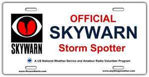 SKYWARN Storm Spotter Vanity License Plate