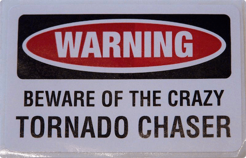 Warning Tornado Chaser Sticker